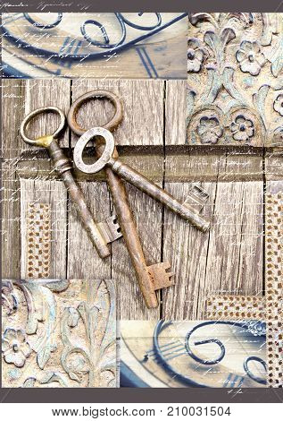 Vintage keys on old wooden background. . Three old rustic keys on the table. Print for writing pad.Collage in vintage style