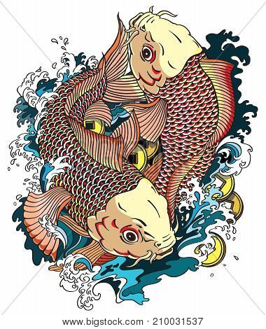 Two japanese carp koi gold fishes in the water pool with money coins. Japanese style tattoo drawing vector illustration