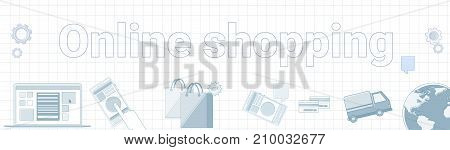 Online Shopping Word On Squared Background Horizontal Banner Ecommerce Concept Vector Illustration