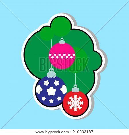 Christmas Tree Balls Icon Over Blue Background Sticker With Holiday Decoration Concept Vector Illustration