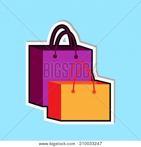 Shopping Bags Icon Isolated Over Blue Background Holiday Sale Concept Vector Illustration