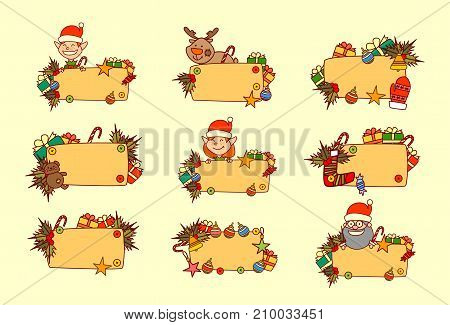 Set Of Hand Drawn Christmas Banners Empty For Text Winter Holiday Decorations Collection Vec