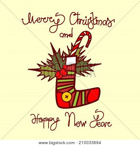 Merry Christmas And Happy New Year Greeting Card With Gift Sock Hand Drawn Lettering Background Vector Illustration