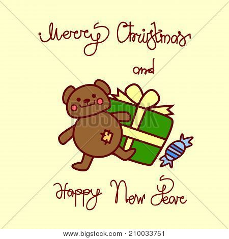 Merry Christmas And Happy New Year Greeting Card With Teddy Bear And Present Box Hand Drawn Lettering Background Vector Illustration