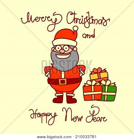 Merry Christmas And Happy New Year Greeting Card With Santa Claus Hand Drawn Lettering Background Vector Illustration