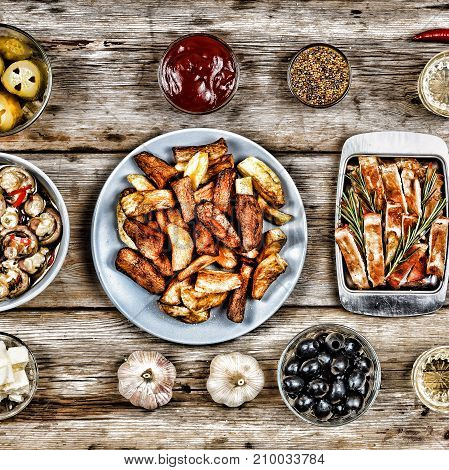 Food Set. Traditional American Snacks: Fried Potatoes, Pickles, Ketchup