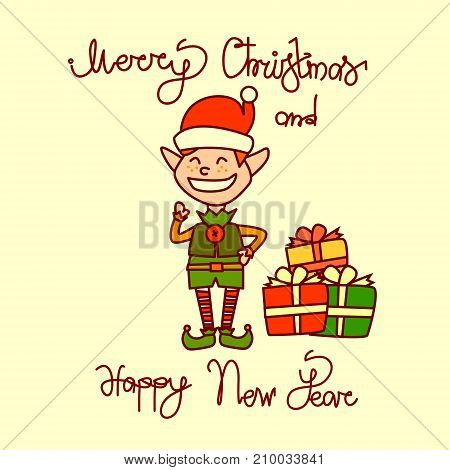 Merry Christmas And Happy New Year Greeting Card With Holiday Elf Boy Hand Drawn Lettering Background Vector Illustration