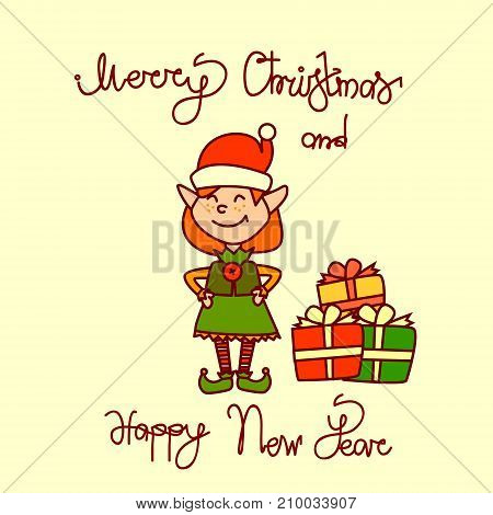 Merry Christmas And Happy New Year Greeting Card With Holiday Elf Girl Hand Drawn Lettering Background Vector Illustration