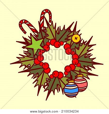 Christmas Wreath Icon Garland Hand Drawn Holiday Decoration Concept Vector Illustration