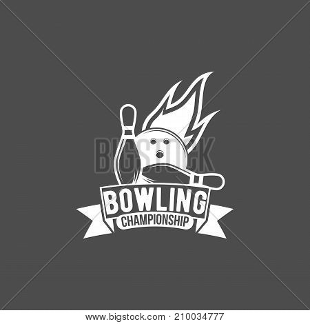 Bowling vector logotype, emblem and badge. Club gaming play, skittle and strike illustration. Template for club, tournament, champion, challenge.