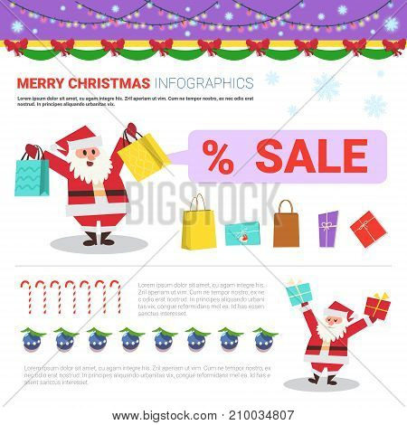 Merry Christmas Infographic Elements With Santa Holding Shopping Bags, Holiday Sale Concept Flat Vector Illustration