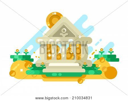 Bank abstract building with golden coin in storage. Money and finance saving in financial institution, vector illustration