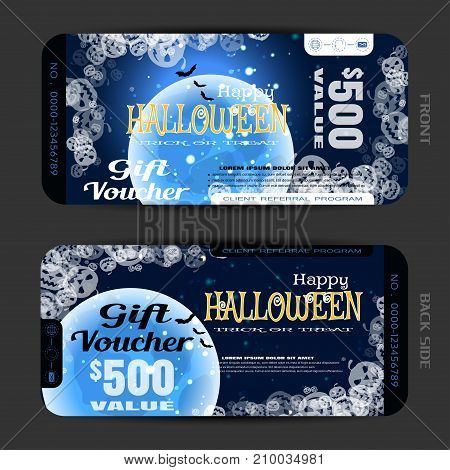 Vector blank of gift voucher to Halloween with groups of transparent pumpkins full blue moon flock of bats text sparkles on the gradient dark brown background.