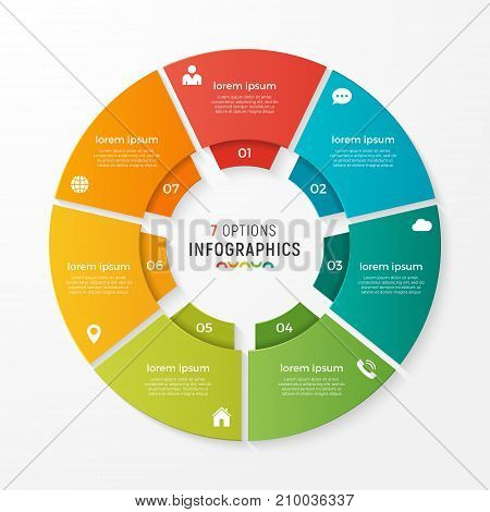 Vector circle chart infographic template for presentations, advertising, layouts, annual reports. 7 options, steps parts