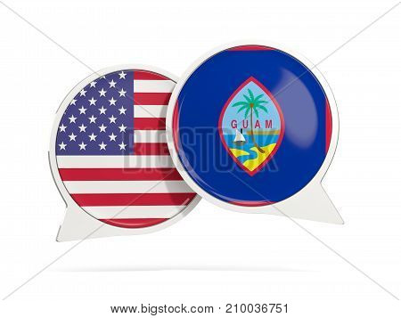 Chat Bubbles Of Usa And Guam Isolated On White