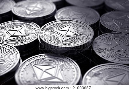 Ethereum Coins (eth) In Blurry Closeup. New Cryptocurrency And Modern Banking Concept. 3D Rendering.