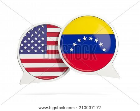 Chat Bubbles Of Usa And Venezuela Isolated On White