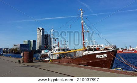 Gdynia, Poland - October 15, 2017: Fish bar on the boat at the waterfront in Gdynia, Poland