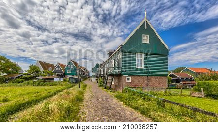 Typical Fisherman Village Houses In Marken Island