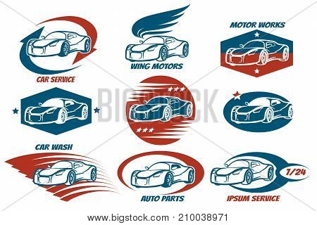 Car shop and service or automobile workshop emblem set. Design elements for your company. Vector illustration.