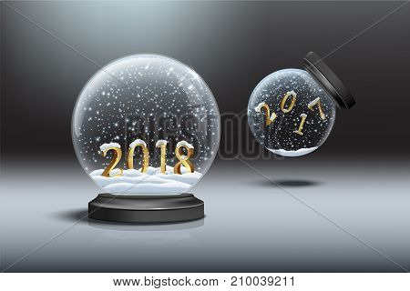 Snow globes with 2018 and 2017 year signs. Falling snow globe with 2017 number and standing snow globe with 2018 number. Vector illustration