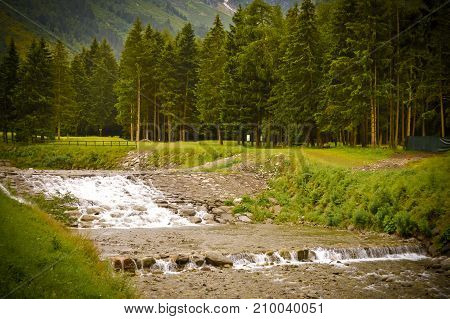 View of a torrent in a park in the Dolomites in Italy