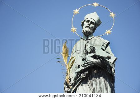 St. John Of Nepomuk Statue For Czechia People And Foreigner Travelers Visit At Charles Bridge