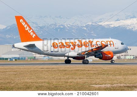 Turin Italy 26th January 2014: Airbus aircraft operated by Easyjet takes off from Turin Caselle Airport
