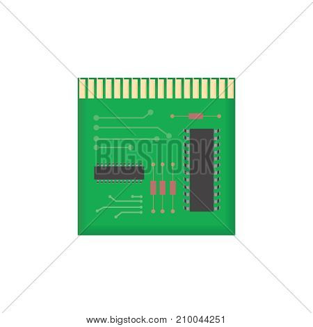 Microchip scheme. Chip isolated minimal icon. Vector microchip illustration