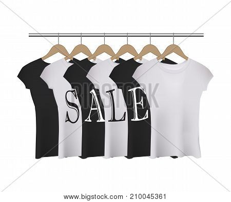 Vector realistic black and white t-shirts with SALE word on white background.