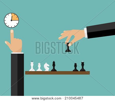 Game of chess. The hand rearranges the chess piece. Flat design, vector illustration, vector