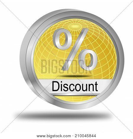 decorative golden Discount button - 3D illustration