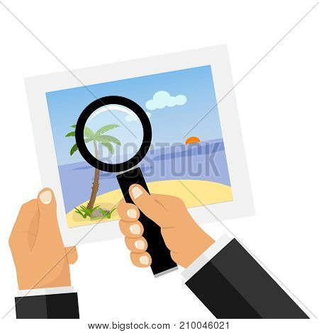 A hand with a magnifying glass looks at the photo. Photo of the sea landscape. Flat design, vector illustration, vector.