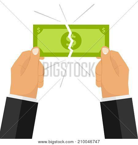 Hands break the money bill. Two hands broke the money. Flat design, vector illustration, vector.