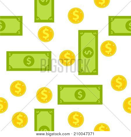 Seamless wallpaper of coins and banknotes. Wallpaper with a picture of money. Flat design, vector illustration, vector.