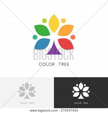 Color tree logo - bright colored plant with leaves or colour palette symbol. Design, art and creativity vector icon.
