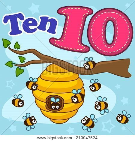A cartoon illustration for children with figures of ten and ten bees that fly near the beehive.