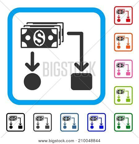 Cashflow icon. Flat gray iconic symbol inside a light blue rounded rectangle. Black, gray, green, blue, red, orange color additional versions of Cashflow vector.