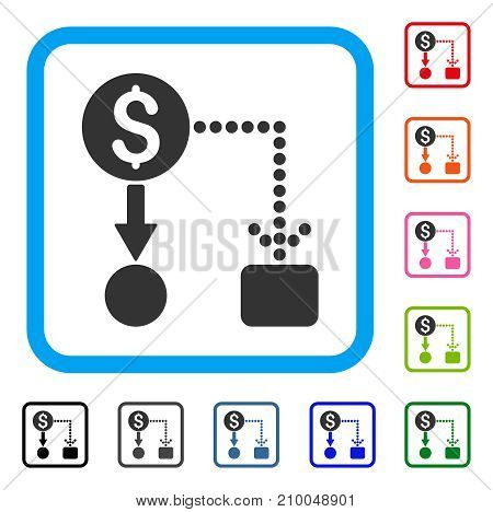 Cashflow icon. Flat gray iconic symbol inside a light blue rounded frame. Black, gray, green, blue, red, orange color variants of Cashflow vector. Designed for web and app user interface.