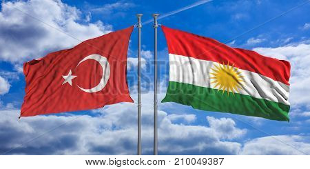 Turkey And Kurdistan Flags Wave Opposite Under A Blue Sky With Many White Clouds. 3D Illustration