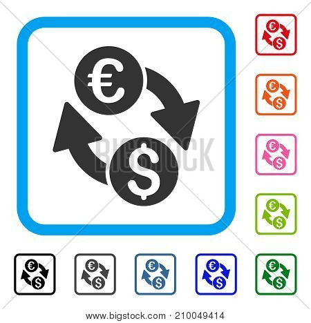Coins Exchange icon. Flat grey pictogram symbol in a light blue rounded frame. Black, gray, green, blue, red, orange color variants of Coins Exchange vector. Designed for web and app interfaces.