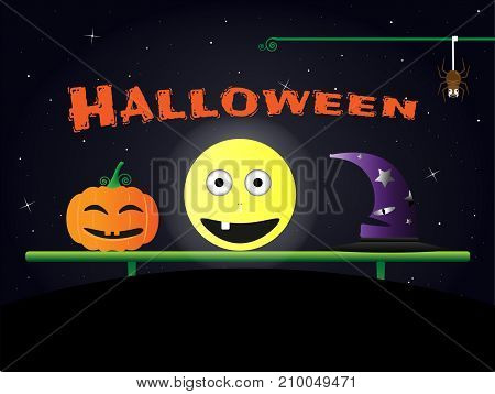 Halloween day concept Halloween pumpkin and the moon and a witch hat and a friendly spider. Vector EPS10 illustration design.