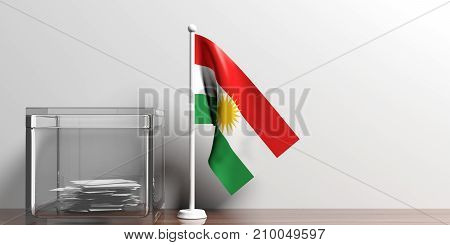 Kurdistan Flag Next To A Glass Ballot Box On Wooden Surface. 3D Illustration