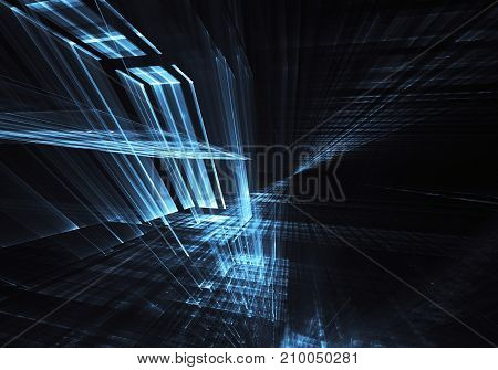 Abstract technological background - the image generated on the computer. Fractal art: room or space made of glass with light effects. The concept of Hi-tech or virtual reality.