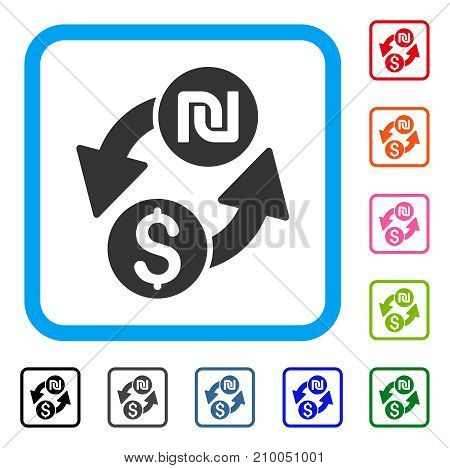 Dollar Shekel Exchange icon. Flat gray pictogram symbol in a light blue rounded frame. Black, gray, green, blue, red, orange color additional versions of Dollar Shekel Exchange vector.