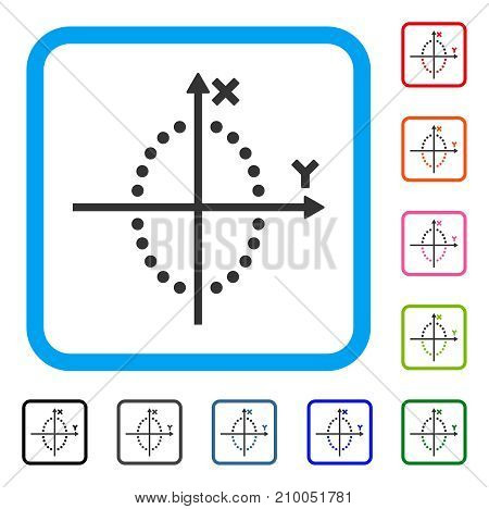 Ellipse Plot icon. Flat gray pictogram symbol in a light blue rounded frame. Black, gray, green, blue, red, orange color versions of Ellipse Plot vector. Designed for web and software interfaces.
