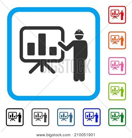 Engineer Pointing Chart Board icon. Flat grey iconic symbol in a light blue rounded rectangle. Black, gray, green, blue, red, orange color additional versions of Engineer Pointing Chart Board vector.