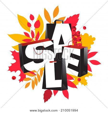 Big Autumn Sale Inscription Design. Fall Leaves Black Paper Bags