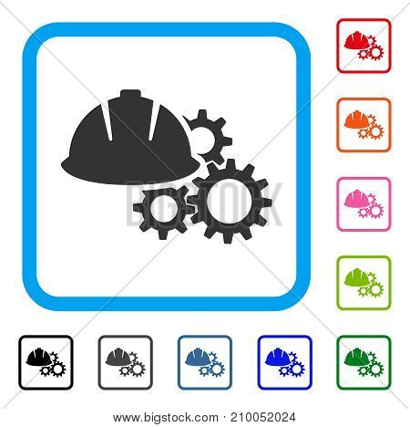 Engineering Helmet And Gears icon. Flat gray iconic symbol in a light blue rounded frame. Black, gray, green, blue, red, orange color additional versions of Engineering Helmet And Gears vector.