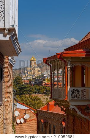 View of the Cathedral of the Holy Trinity on a sunny day. Tbilisi. Georgia.
